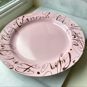 Pink and Brown Round Ceramic Dessert Platter